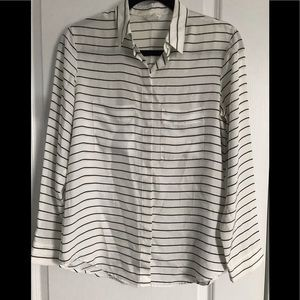 "Club Monaco striped ""pajama"" style top"